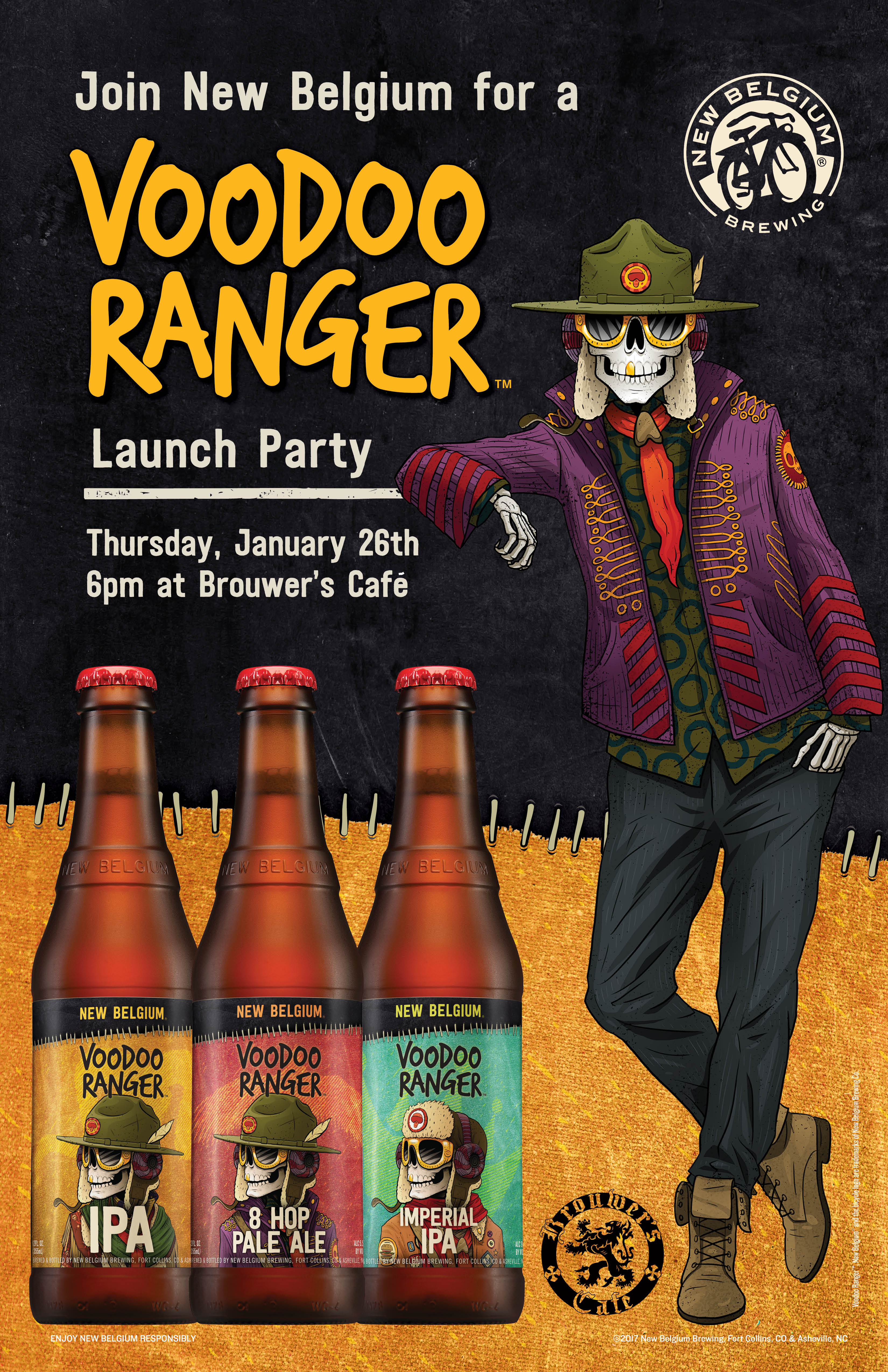 Thursday, January 26th @6pm–A night with New Belgium Brewing! Come and try their new Voodoo Series.
