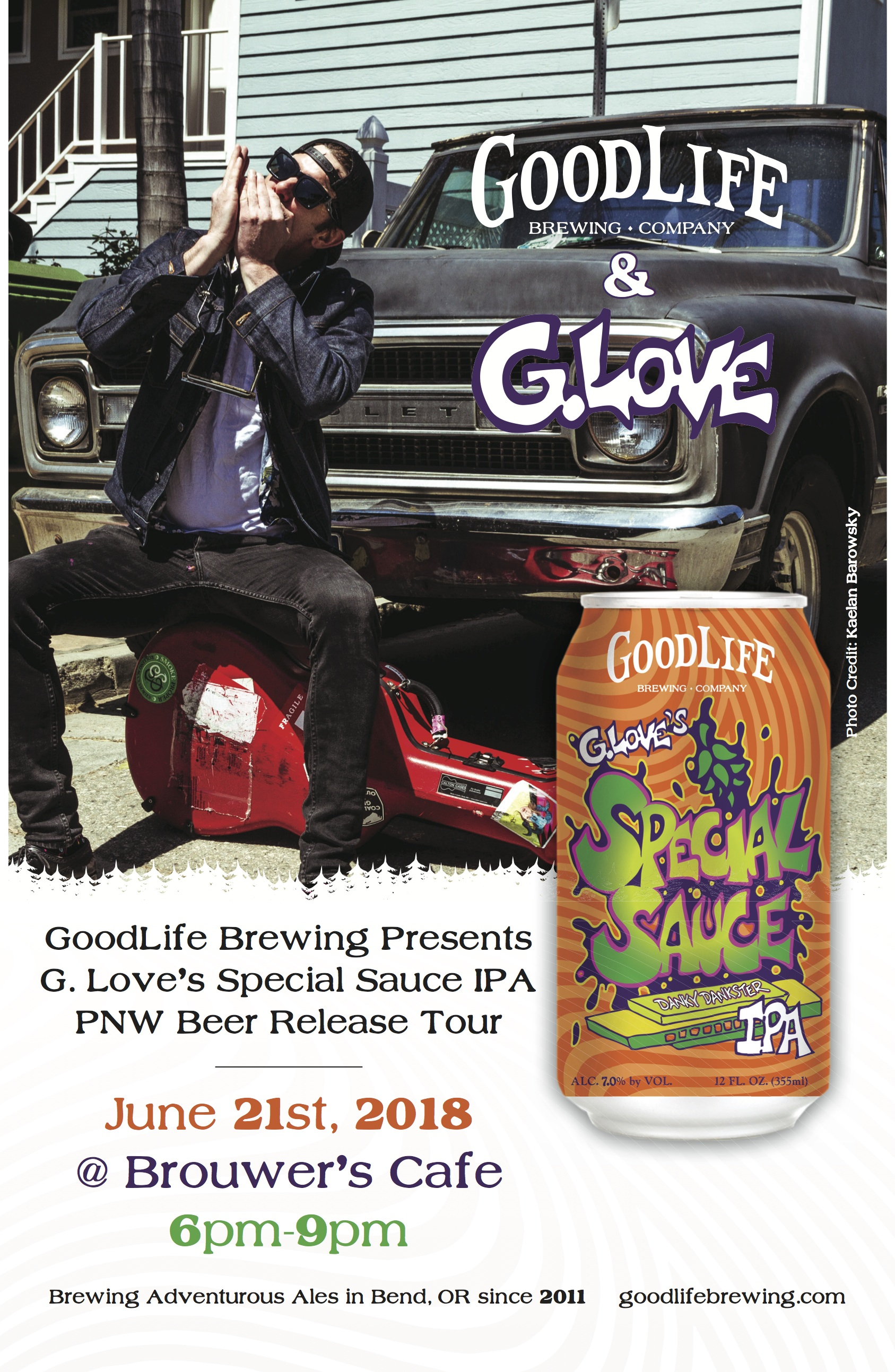 Thursday, June 21st 6pm-9pm, Goodlife Brewing Presents G. Love Special Sauce IPA Release