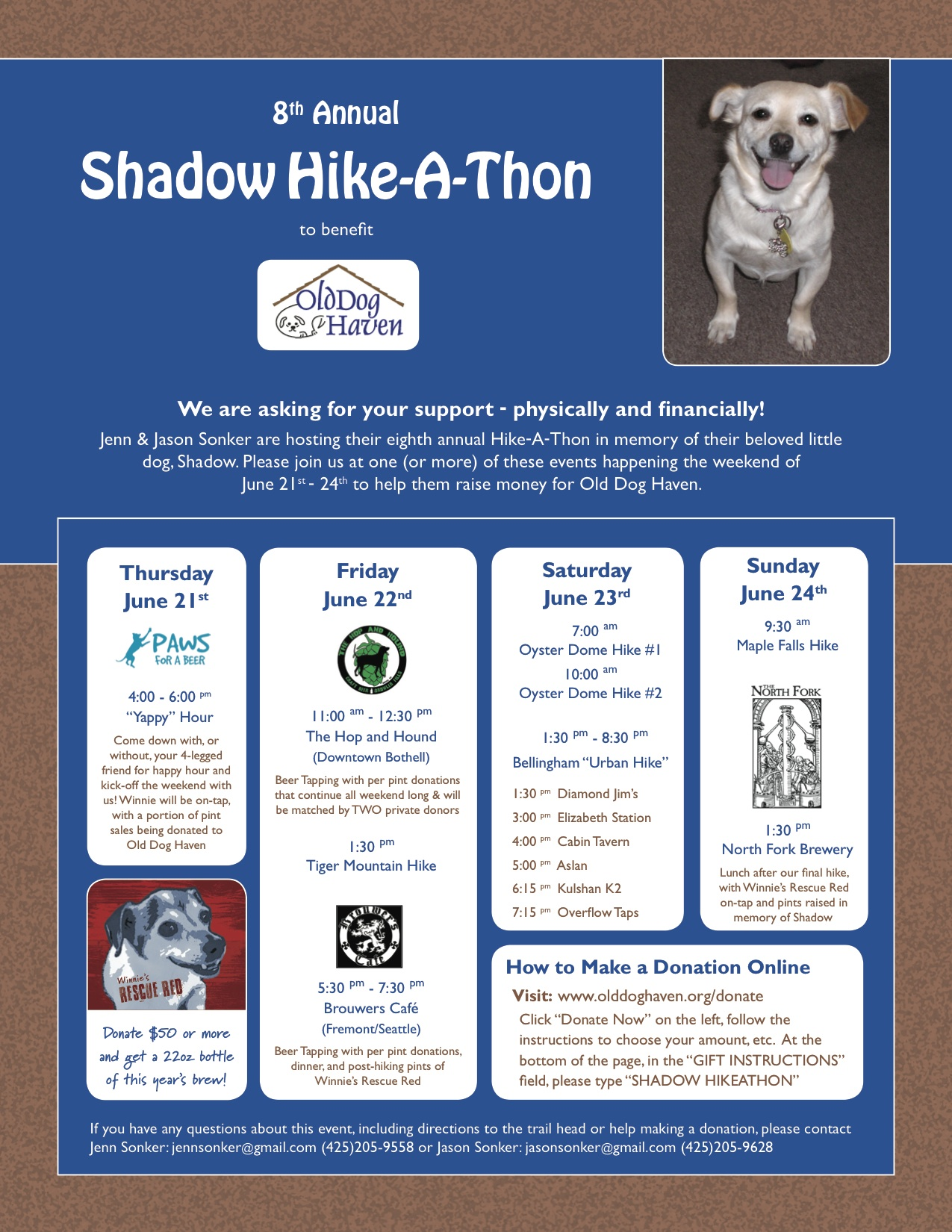 Friday, June 22nd @5pm  Shadow Hike-a-thon Benefit for Old Dog Haven!