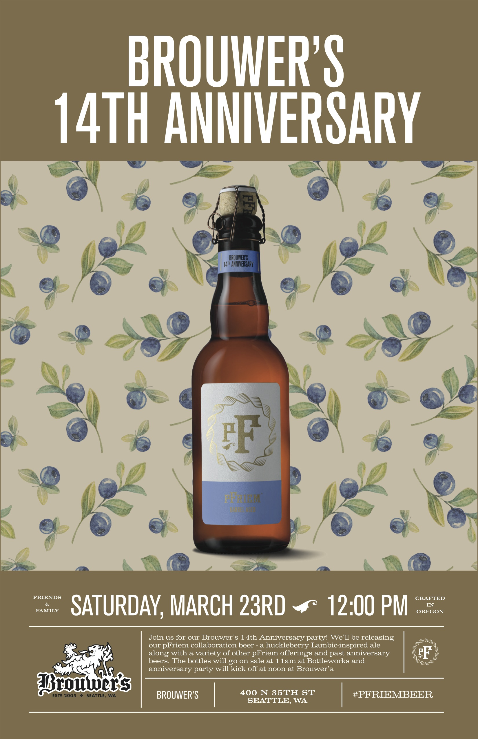 Saturday, March 23rd Brouwer's 14th Anniversary Celebration and Orval Day