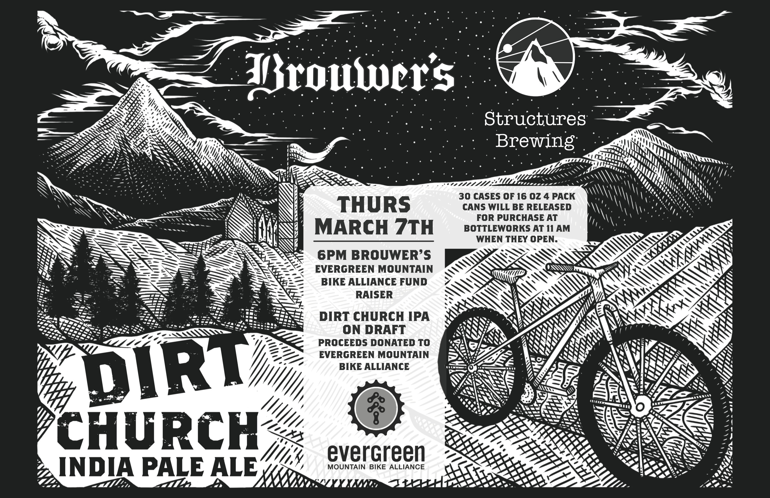 Thursday, March 7th Structures Dirt Church IPA Fundraiser for Evergreen MTB Alliance