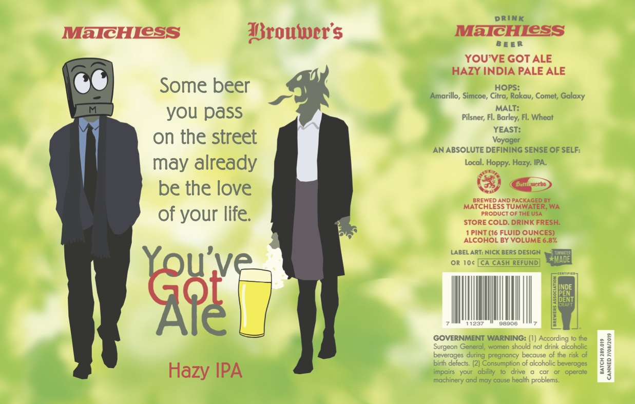 Thursday, July 11th @ 6pm Matchless Brewing You've Got Ale IPA Draft Release.