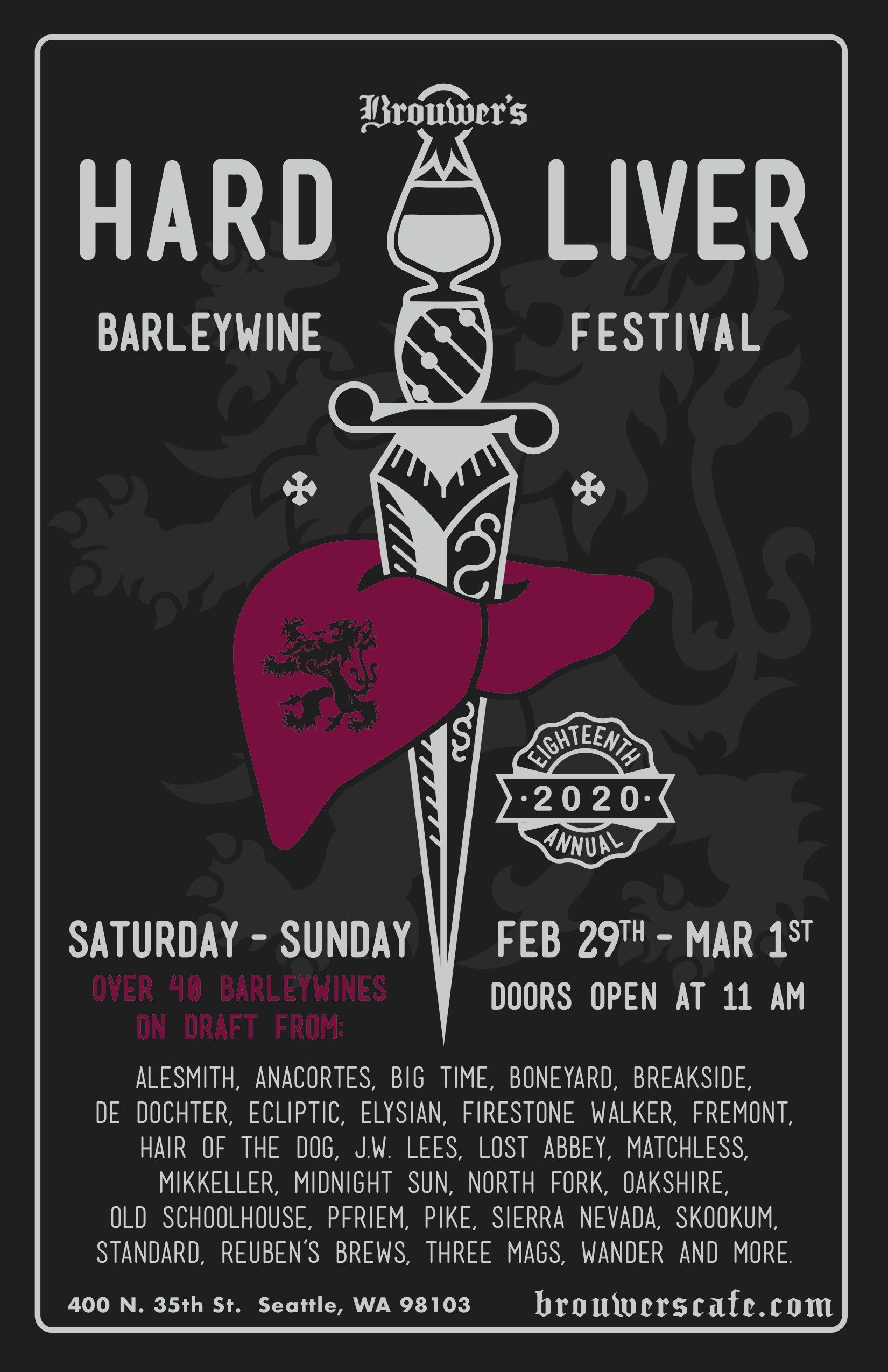 Saturday, February 29th and March 1st, 18th Annual Hardliver Barleywine Fest